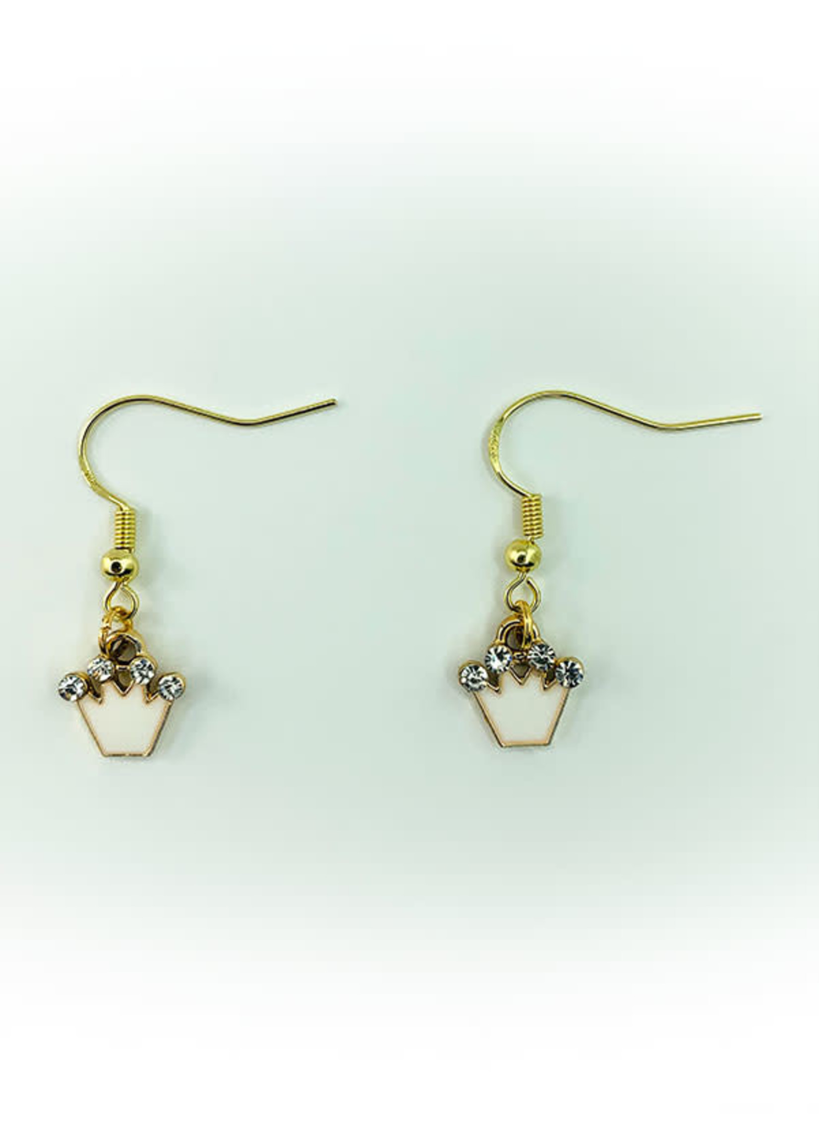 Earrings White Crown with Jewels