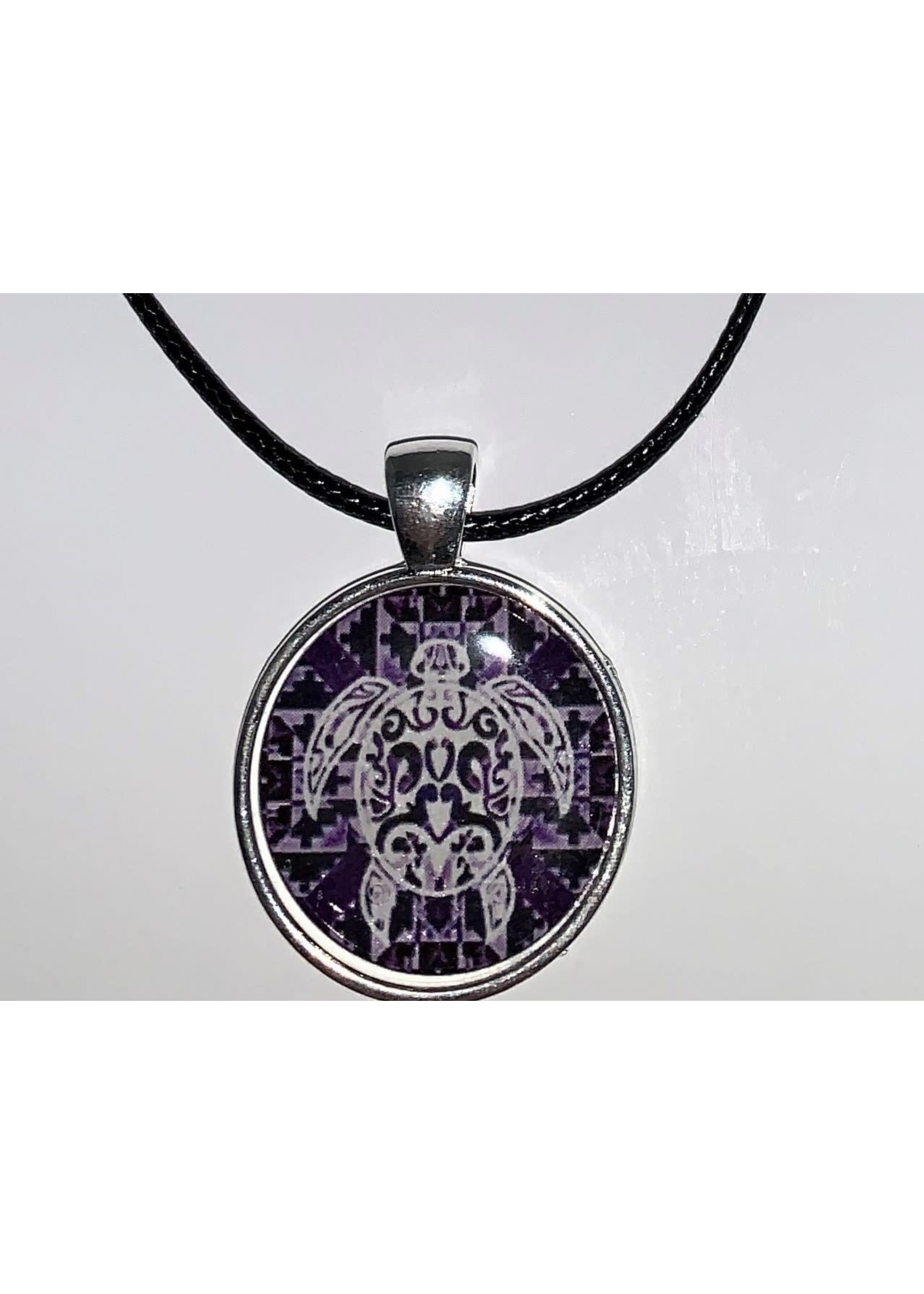 Cabochon Necklace Purple Turtle in Silver Setting