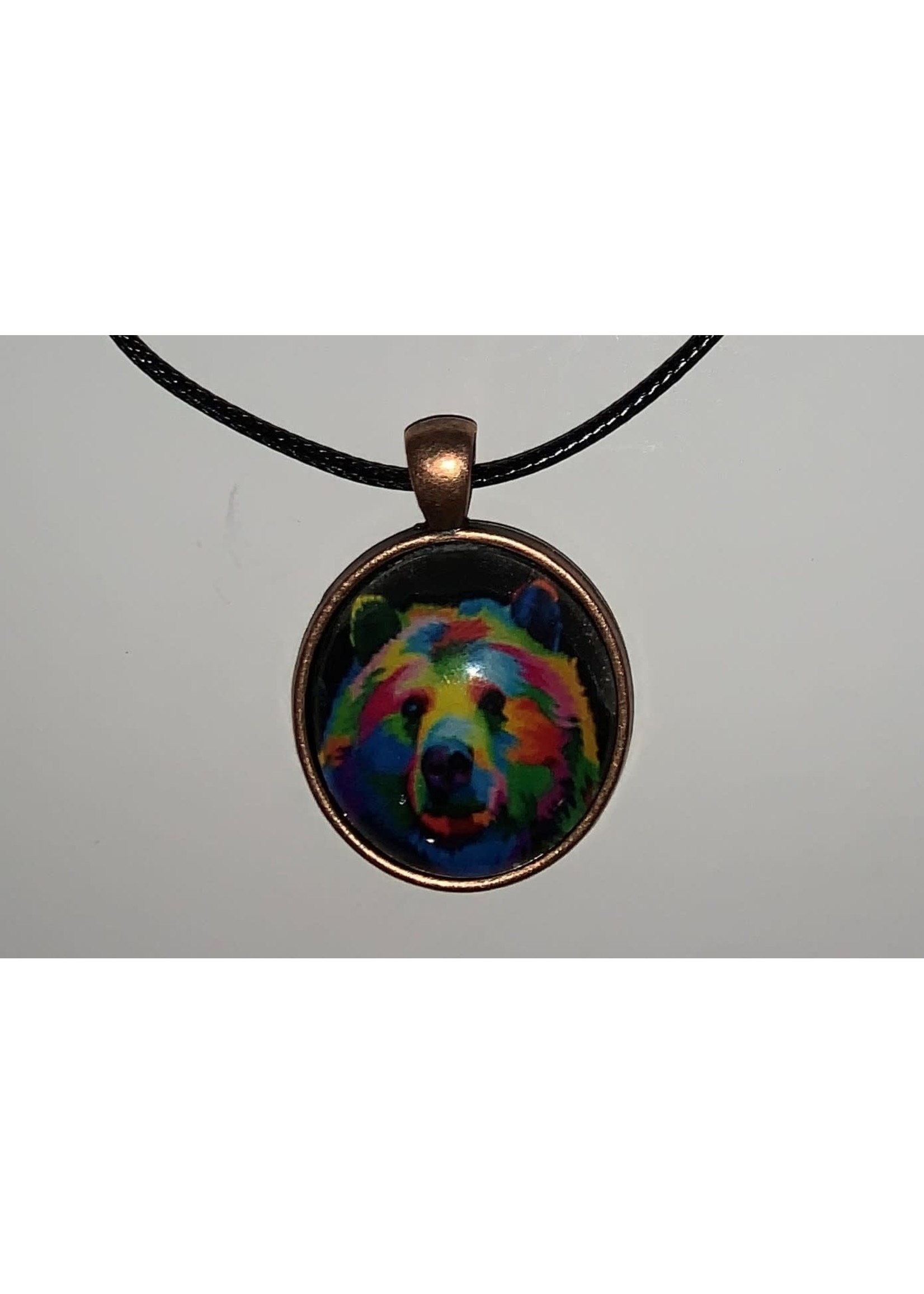 Cabochon Necklace Bear in Copper Settings