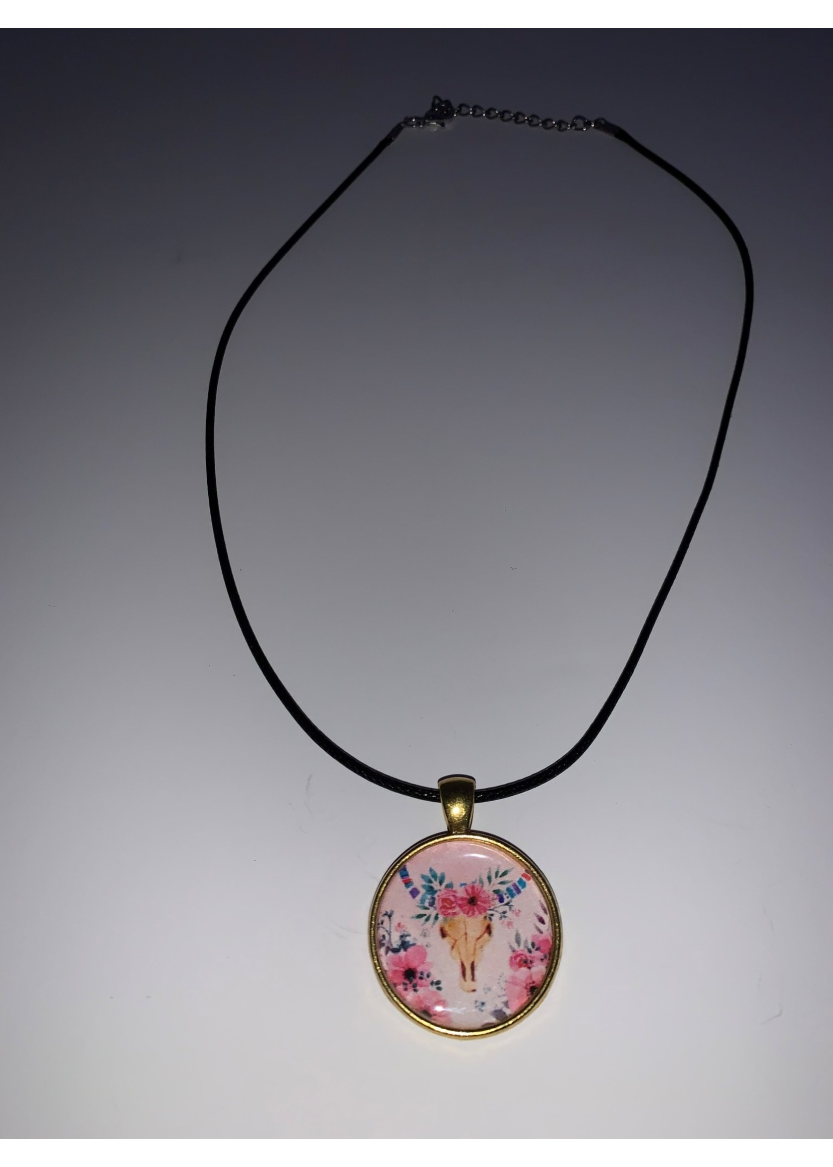Cabochon Necklace  Buffalo Skull in Gold Setting
