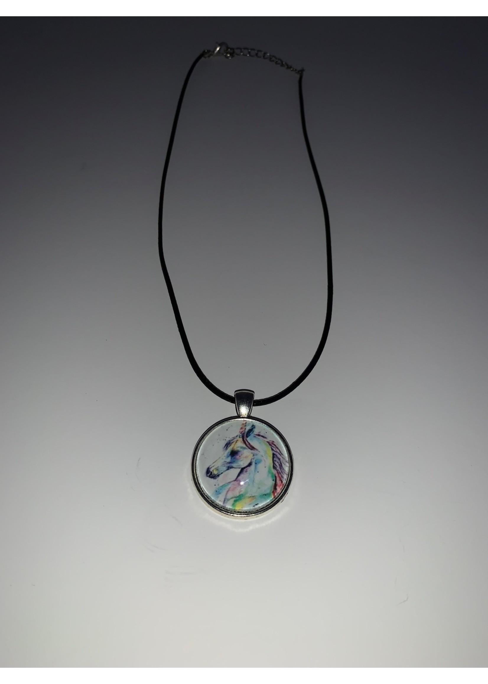 Cabochon Necklace Unicorn in Silver Setting