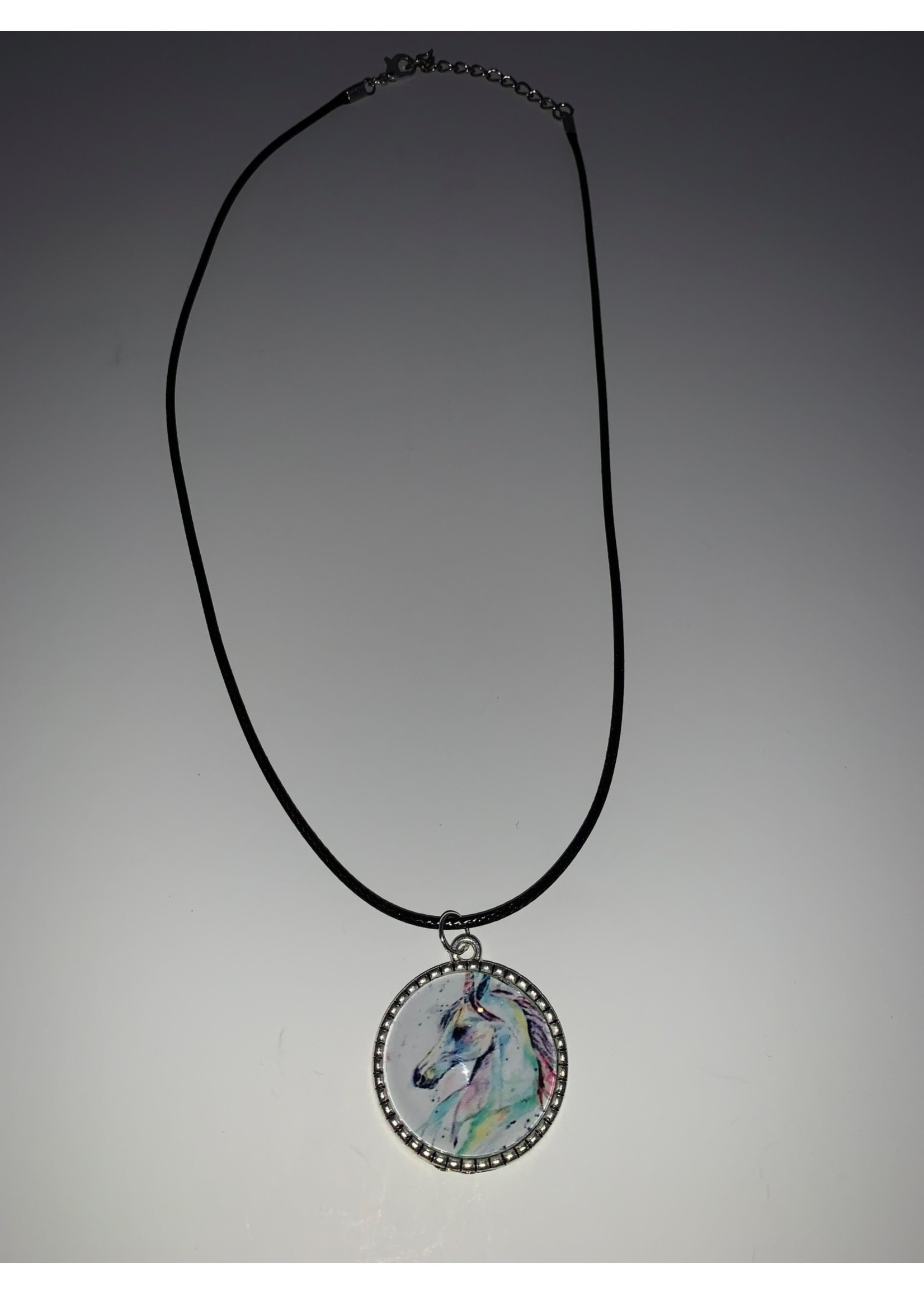 Cabochon Necklace Unicorn in Silver Ribbed Setting
