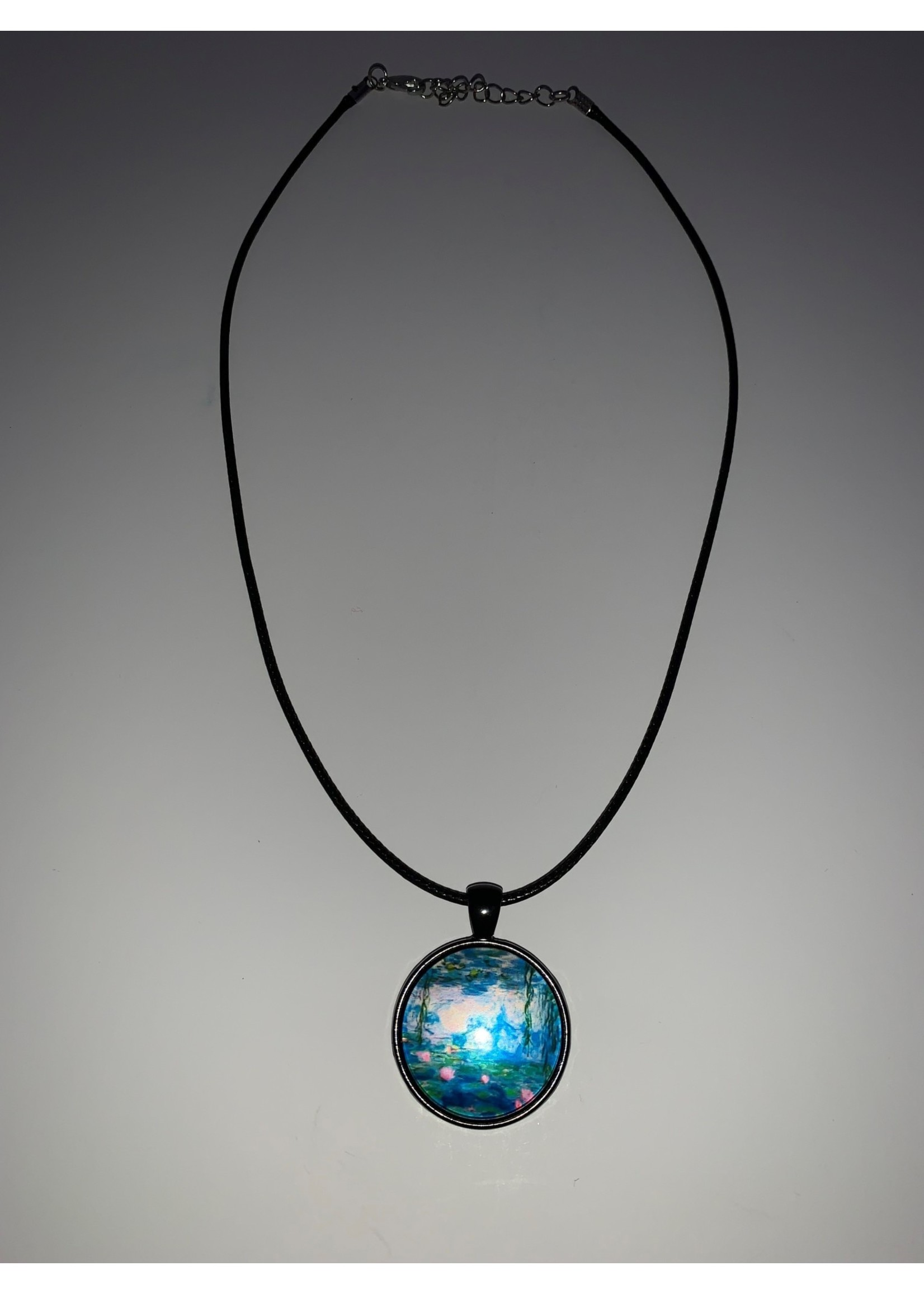 Cabochon Necklace Water Painting in Black Setting