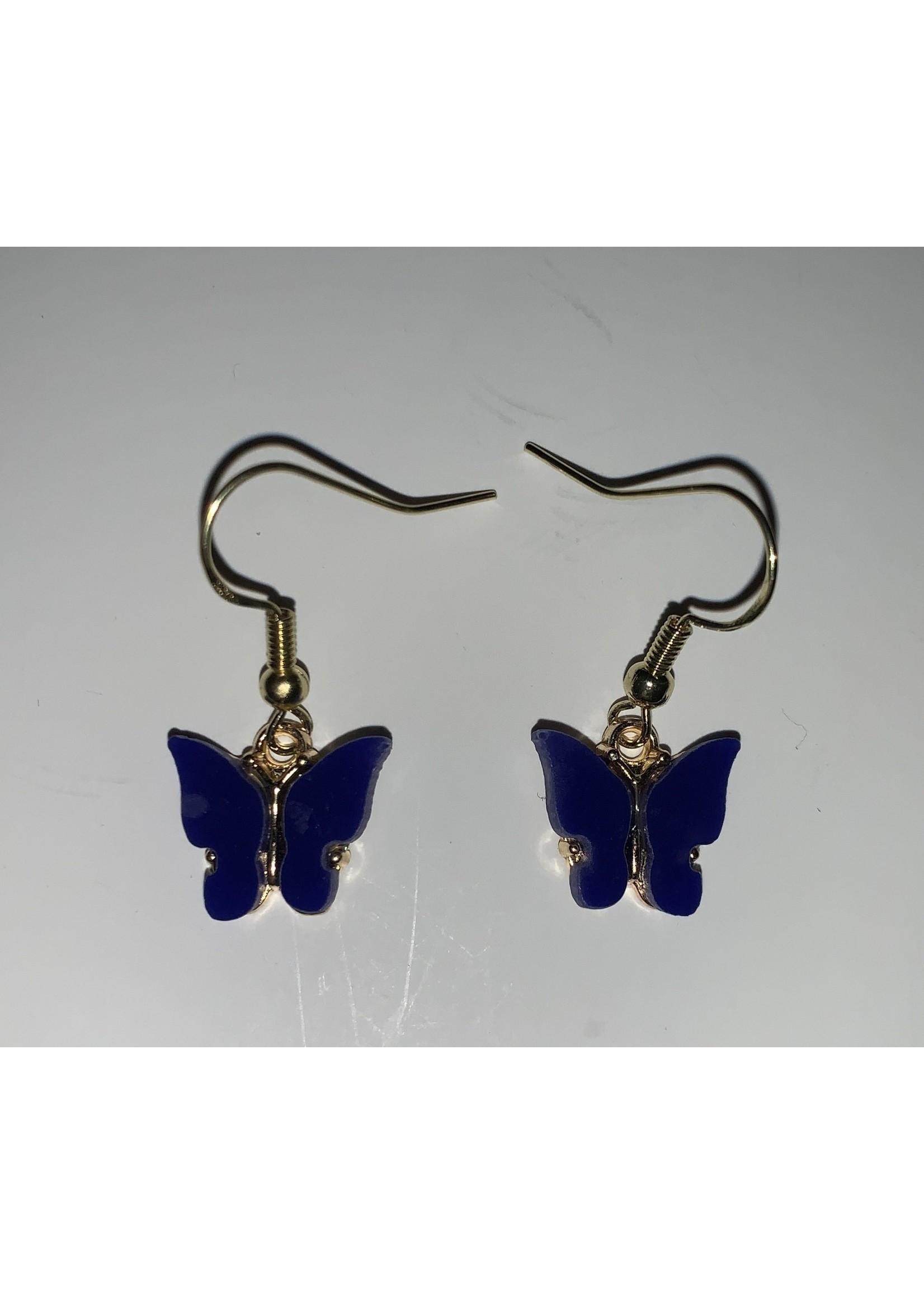 Earrings Dark Blue Butterfly