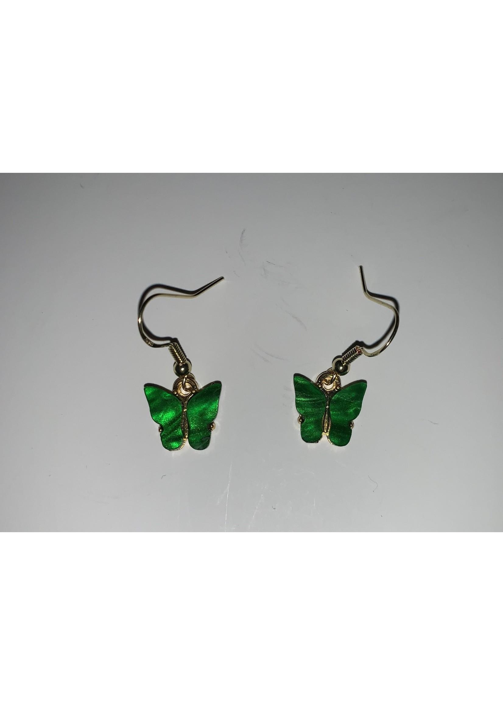 Earrings Green Butterflies
