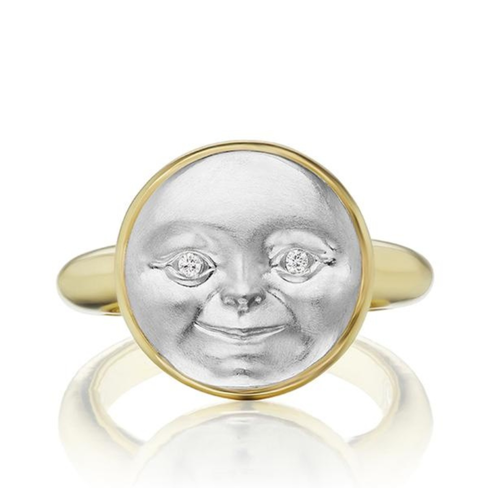 ANTHONY LENT PLATINUM AND GOLD MOONFACE RING