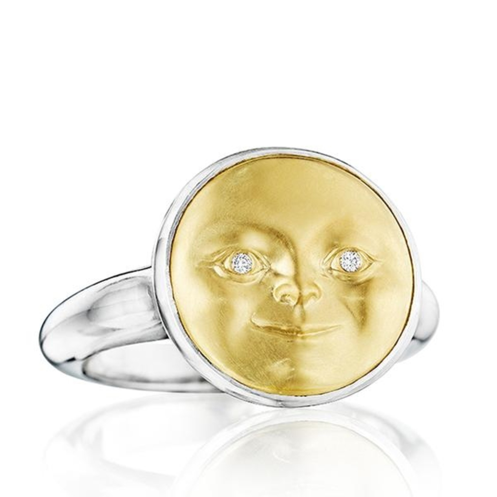 ANTHONY LENT GOLD AND SILVER MOONFACE DIAMOND WITH DIAMOND EYES SIZE 7