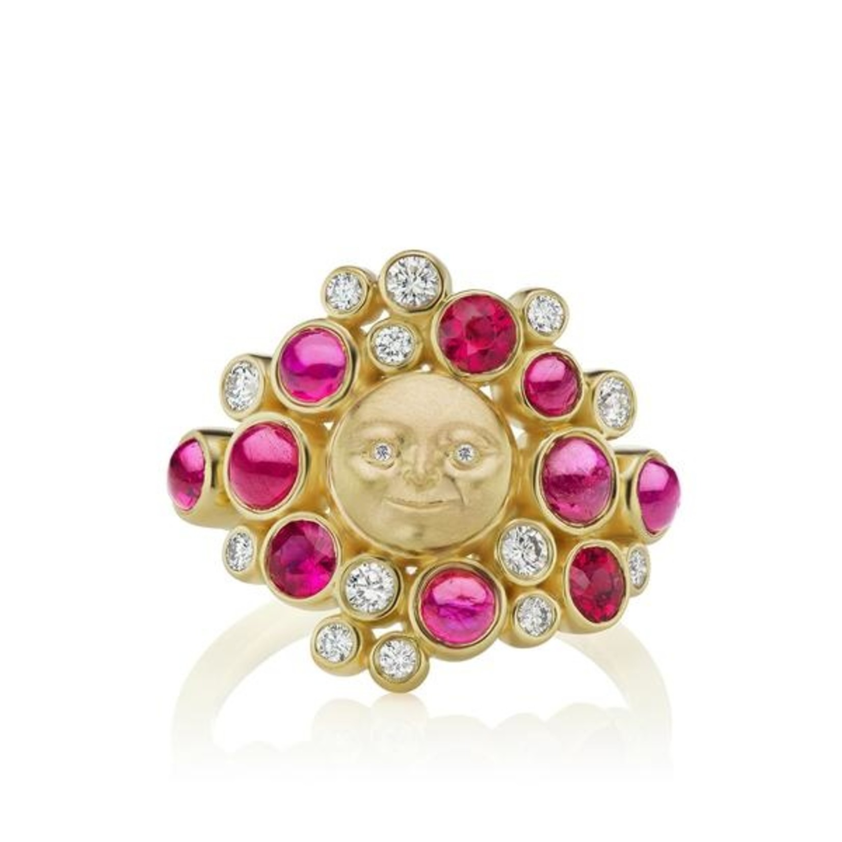 ANTHONY LENT MOONFACE CLUSTER RING WITH RUBIES AND DIAMONDS