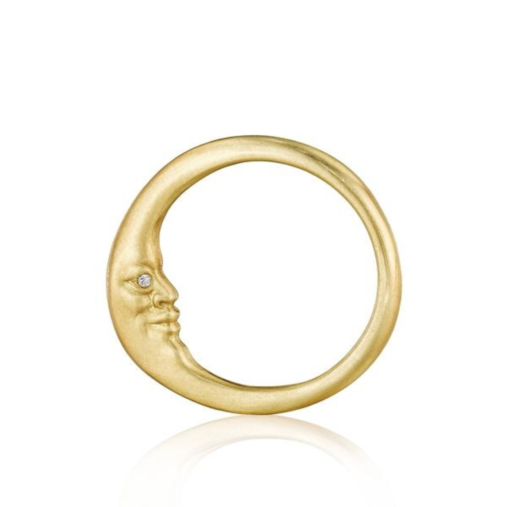 ANTHONY LENT CRESCENT MOON FACE WITH DIAMOND EYE RING