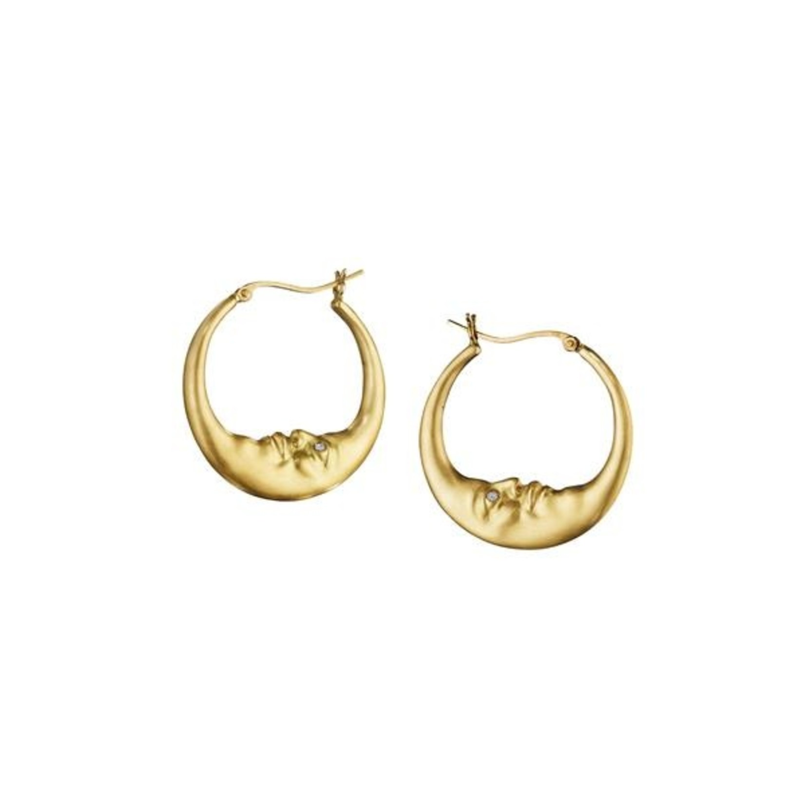 ANTHONY LENT SMALL CRESCENT MOON HOOP EARRINGS
