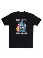 Out of Print Fight Evil, Read Books Robot T-Shirt - Adult Unisex
