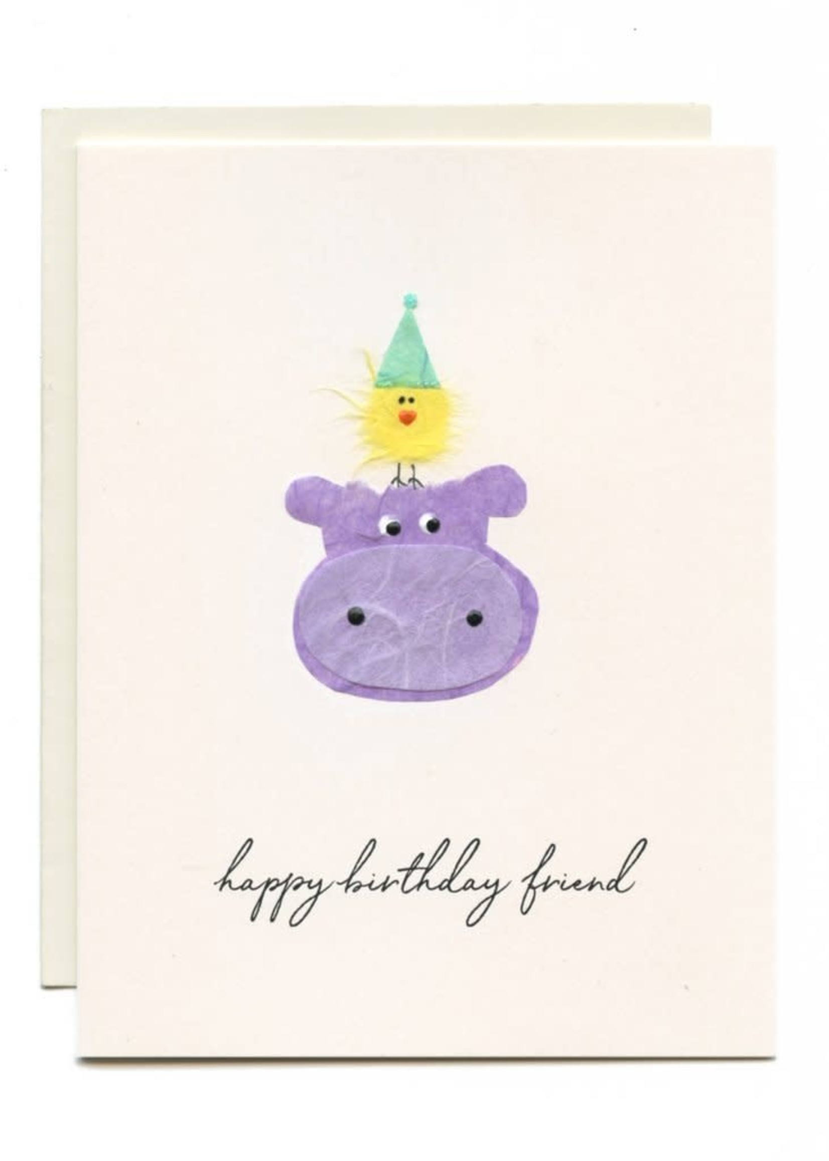 Flaunt Hippo with Yellow Bird Birthday Card