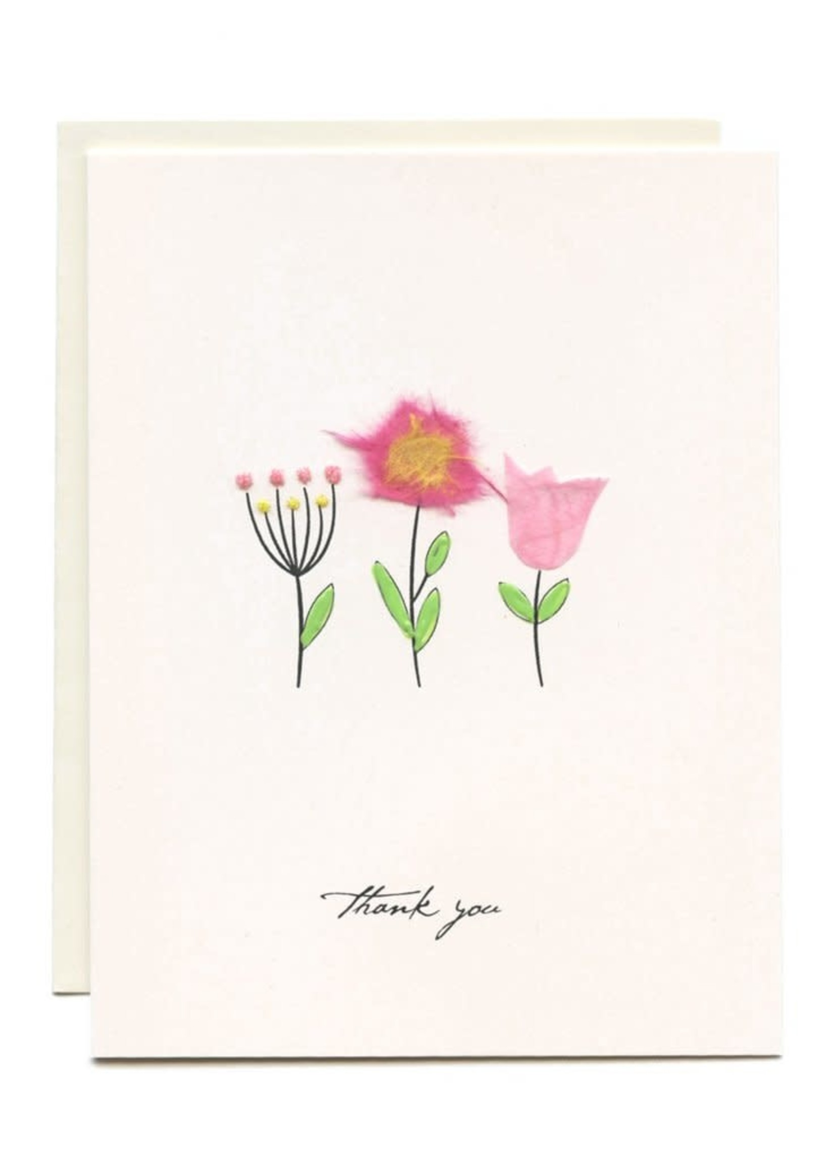 Flaunt Three Flowers Thank You Card