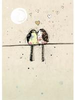Bug Art Black Ink Two Lovebirds