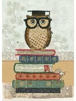 Bug Art Amy's Cards - Owl on Books