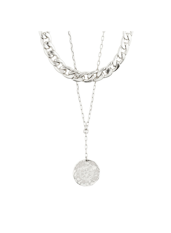 Necklace Compass Silver Plated - 102116001
