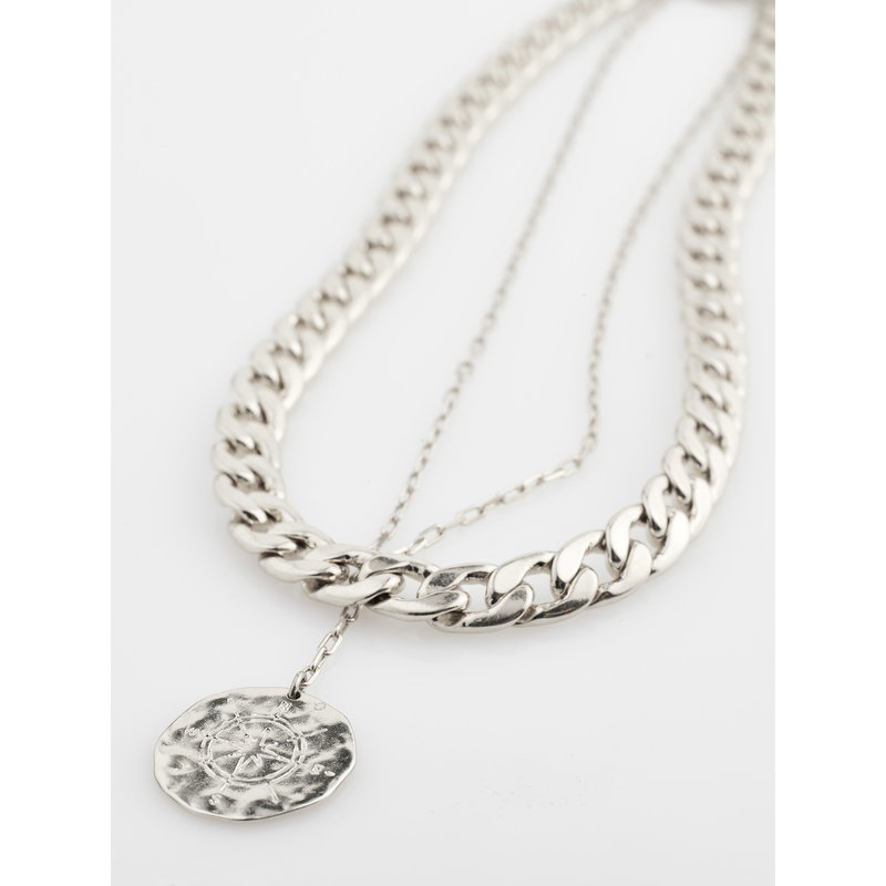 Pilgrim Necklace Compass Silver Plated - 102116001