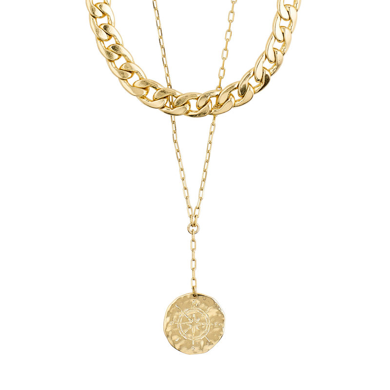 Pilgrim Necklace Compass Gold Plated - 102112001
