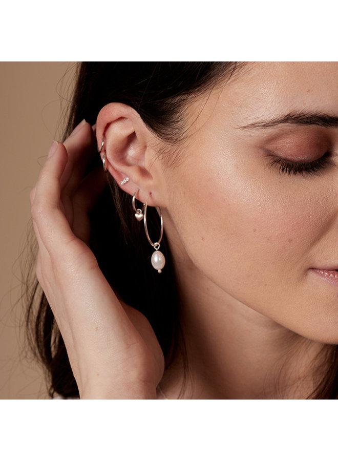 Earrings Poesy Silver Plated White - 142116003