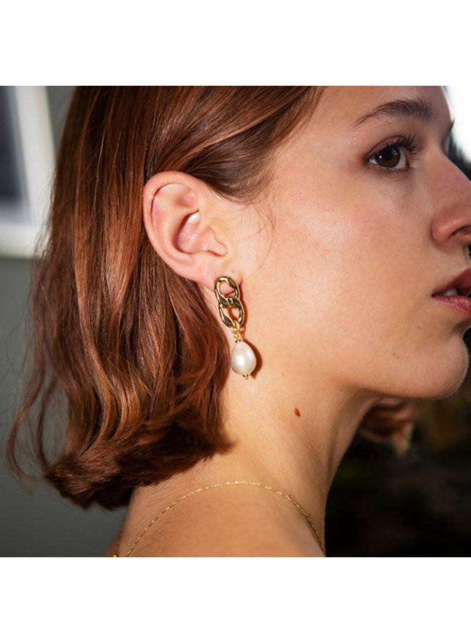 Earrings Gracefulness Gold Plated White - 112042013
