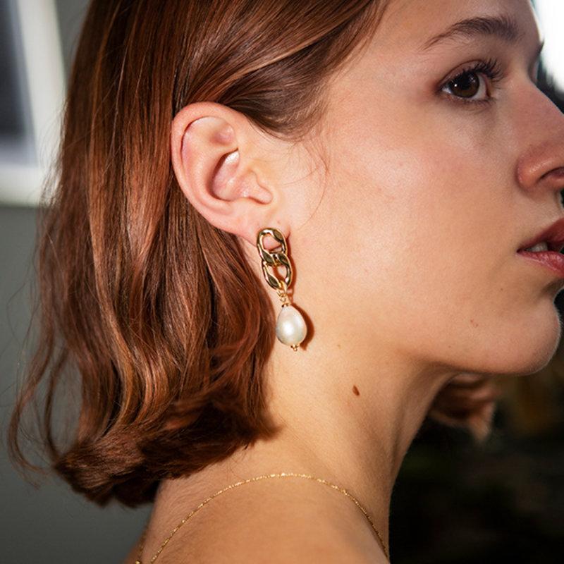 Pilgrim Earrings Gracefulness Gold Plated White - 112042013