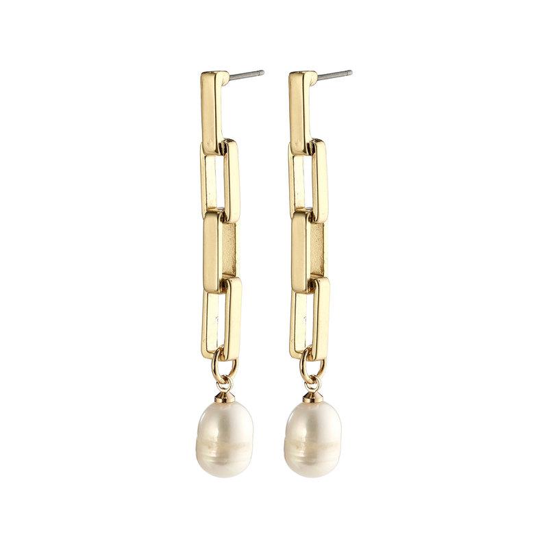 Pilgrim Earrings Colomba Gold Plated White - 272112003
