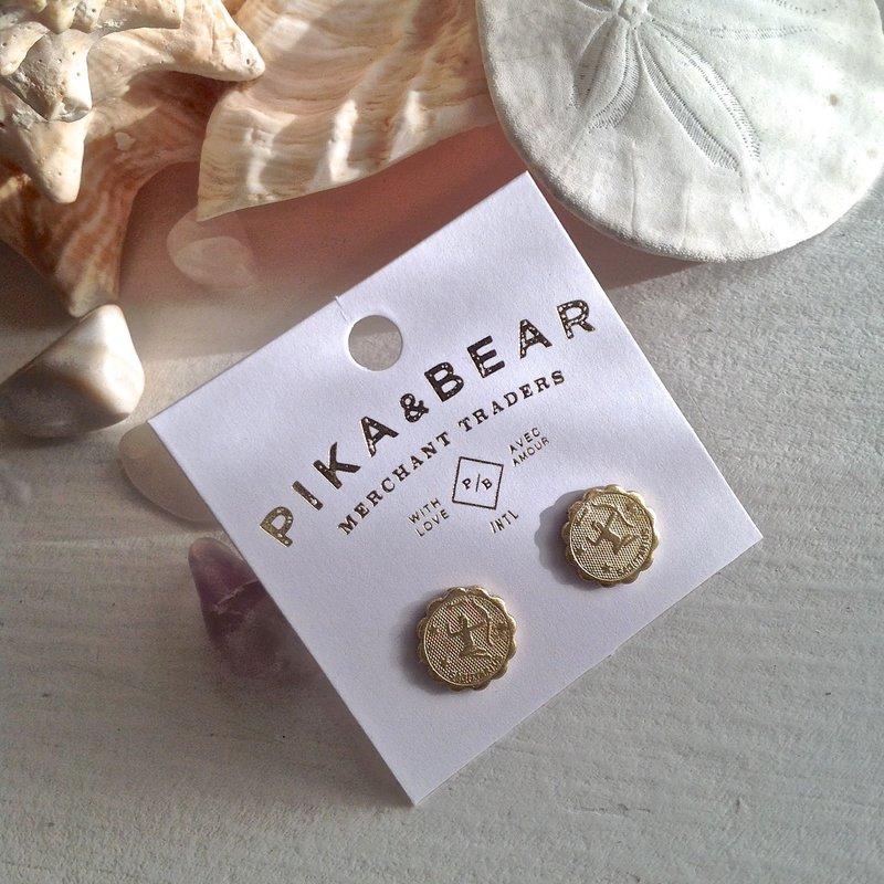 Pika & Bear Sagittarius Zodiac Studs