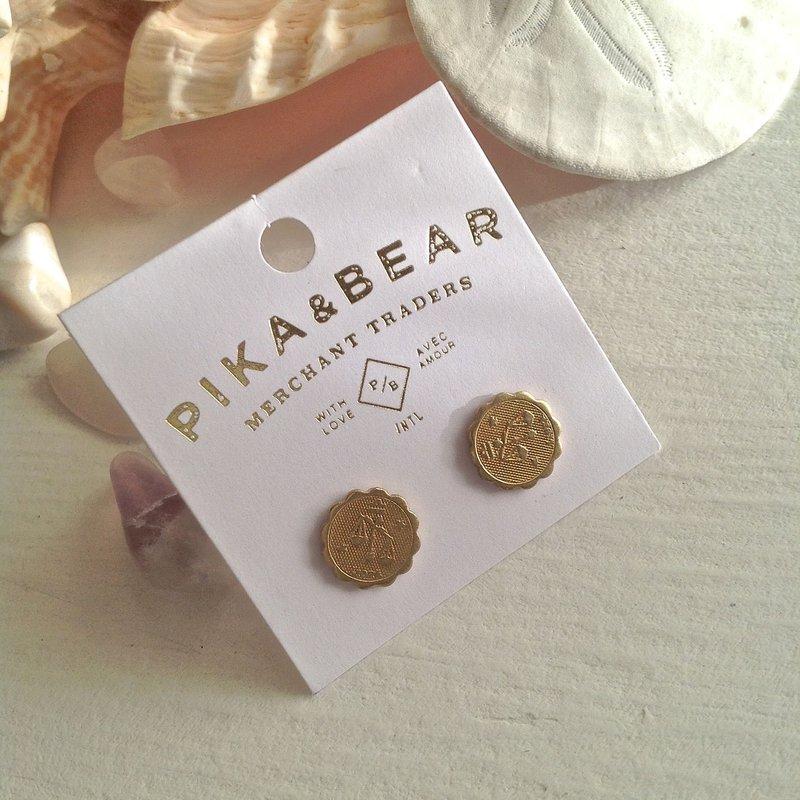 Pika & Bear Libra Zodiac Studs