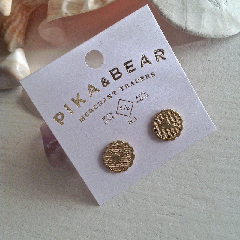 Pika & Bear Leo Zodiac Studs