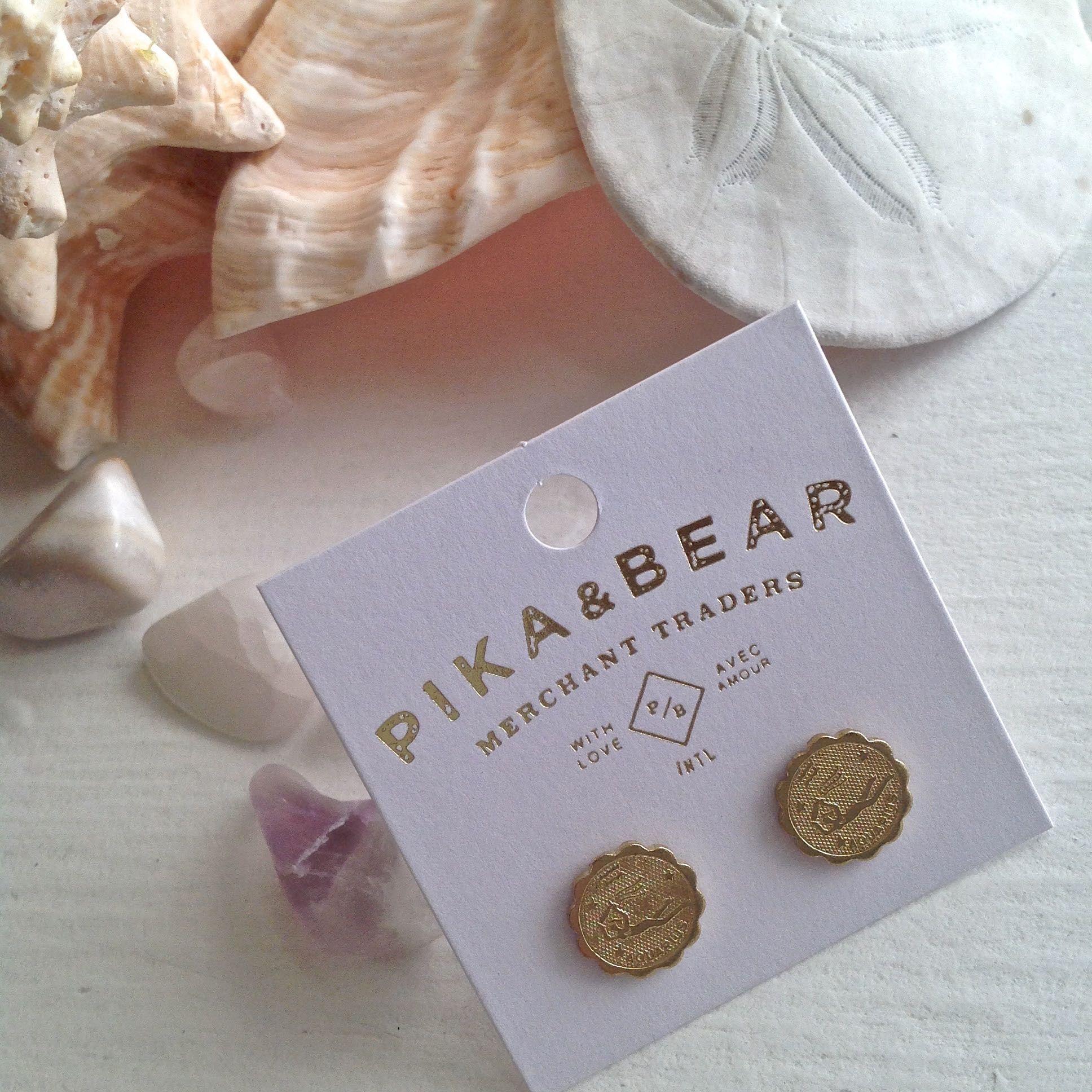 Pika & Bear Aquarius Zodiac Studs