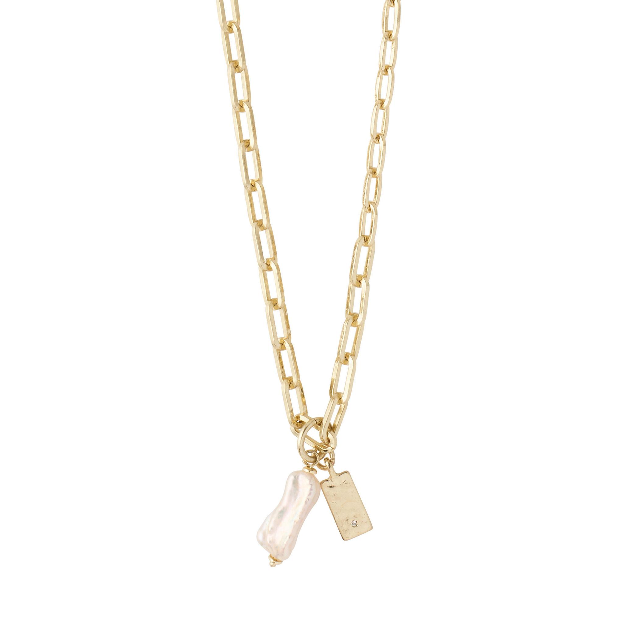 Pilgrim Necklace Enchantment Gold Plated White - 112122011