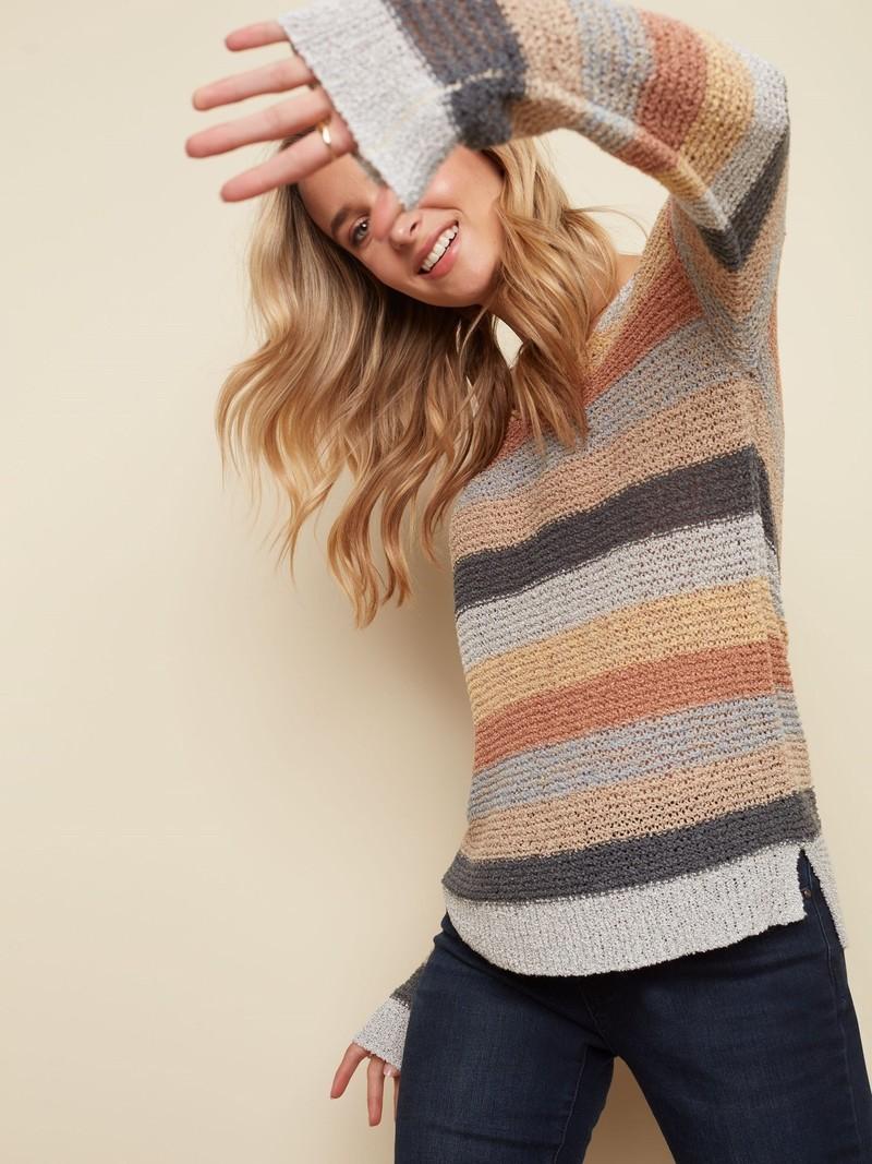 Charlie B L/S V-Neck Sweater C2391