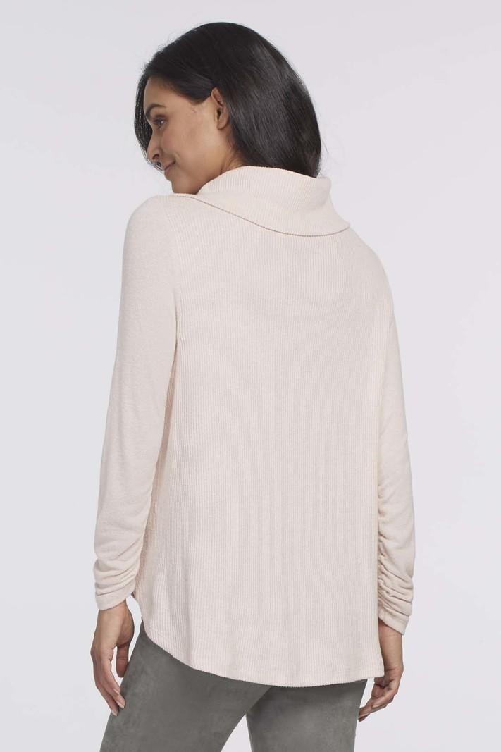 Tribal L/S Cowl Neck Top W/Shirring Detail 4642O