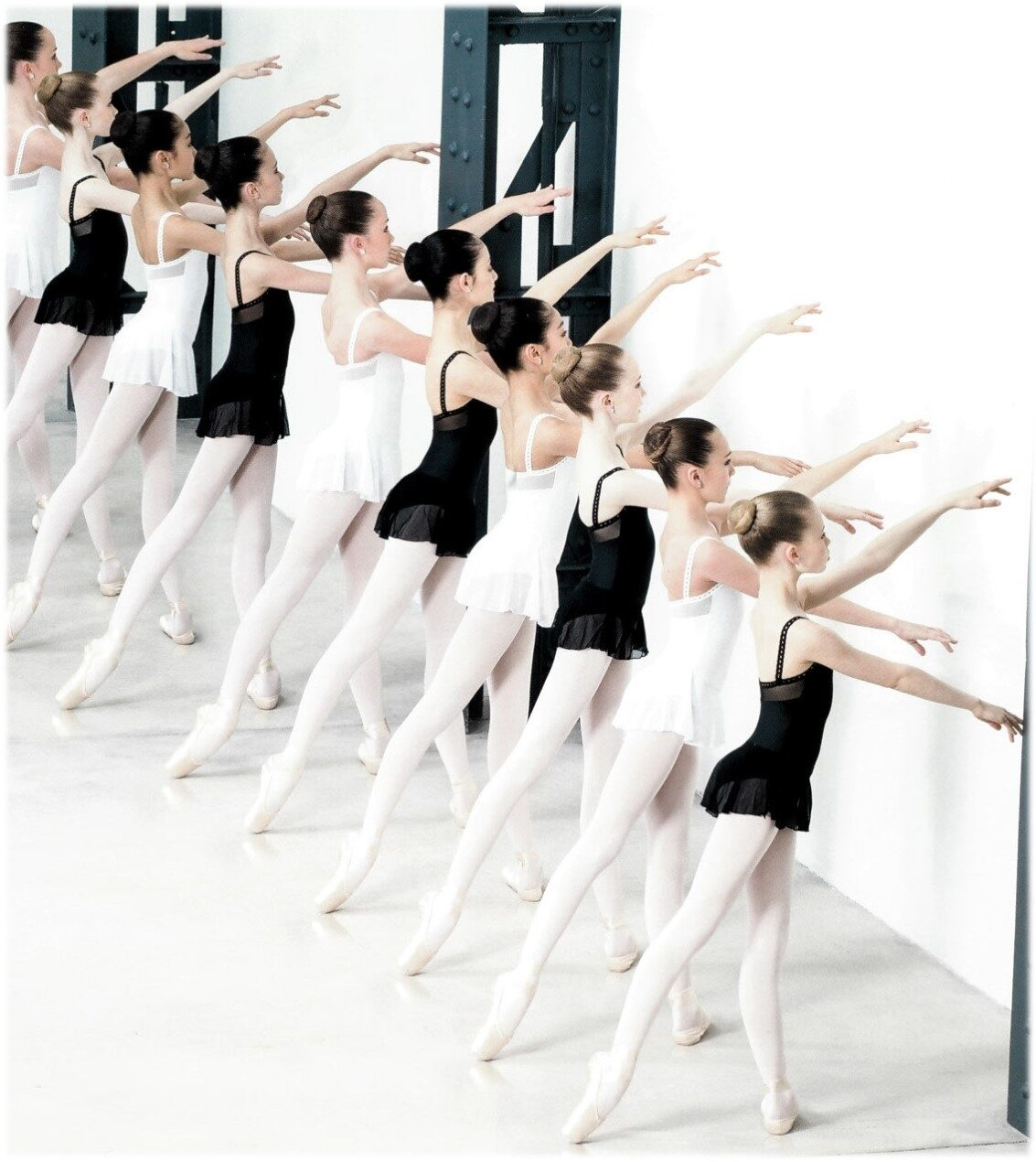 Dancers in a line