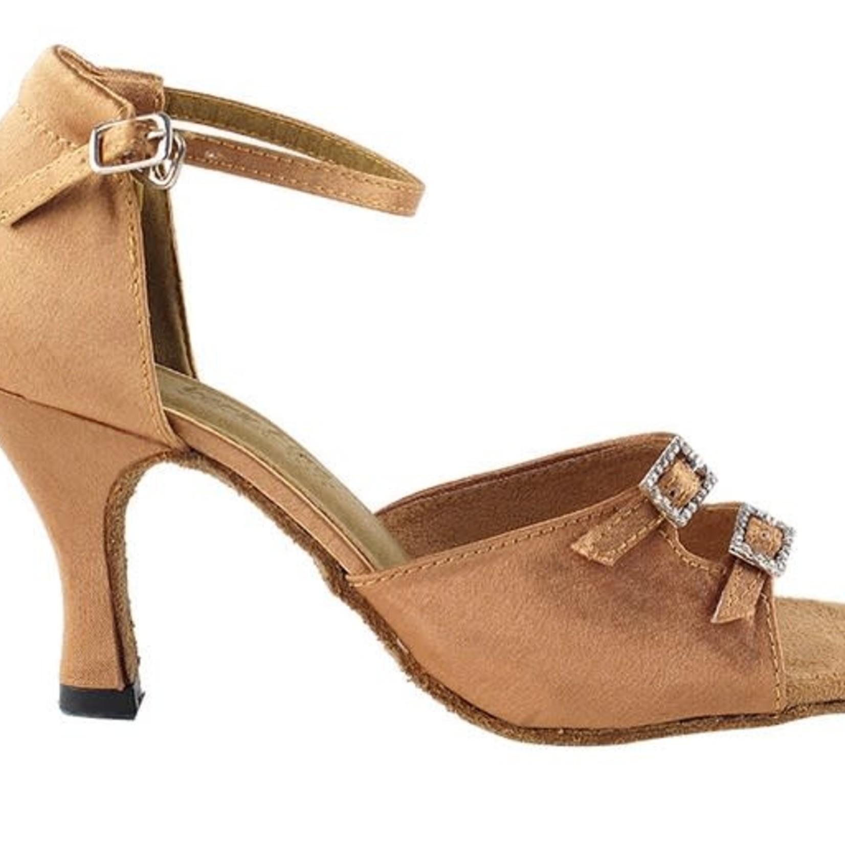 "Very Fine Very Fine 1620 3"" Brown Satin Ballroom Shoe"