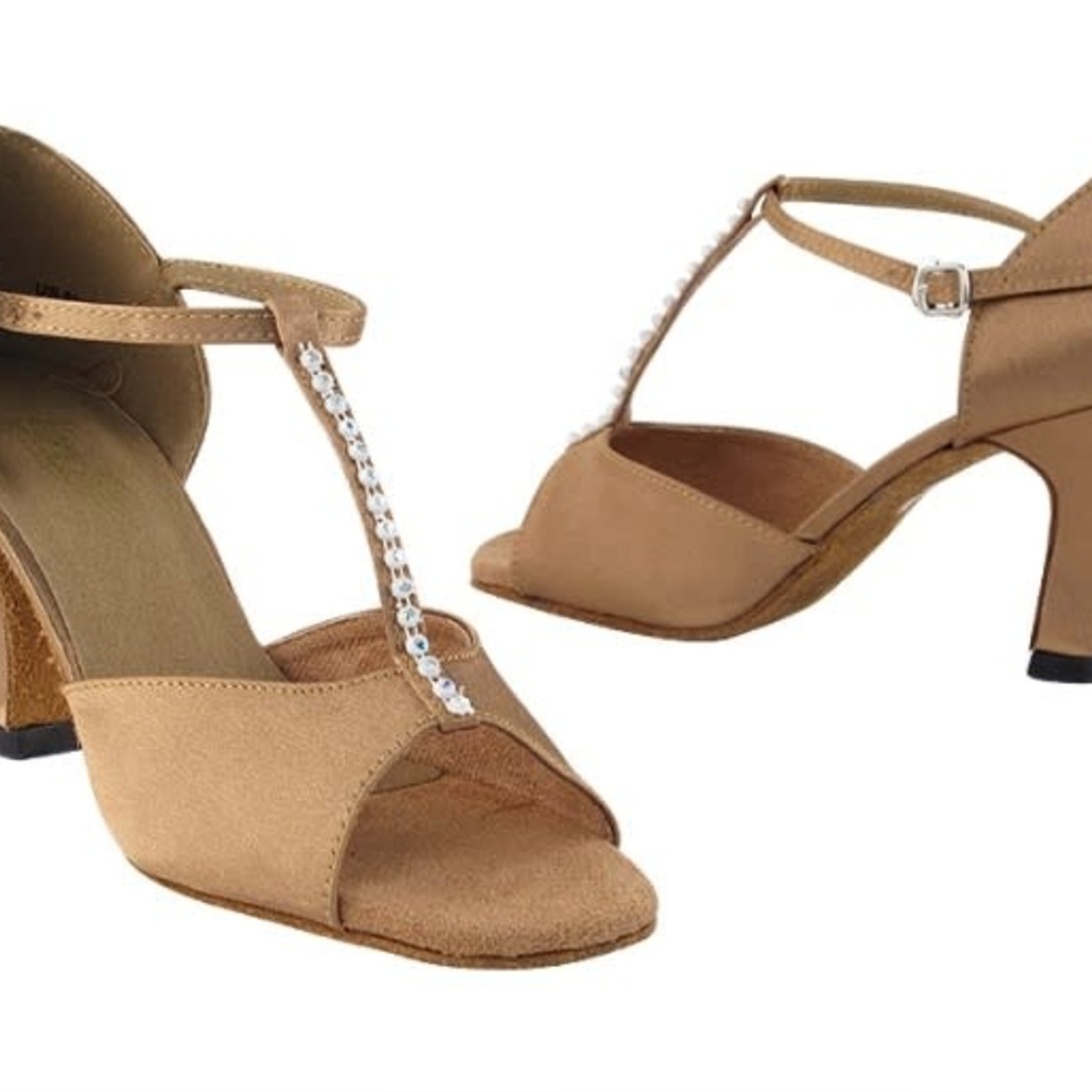 "Very Fine Very Fine 1609 2.5"" Brown Satin and Stone Ballroom Shoe"