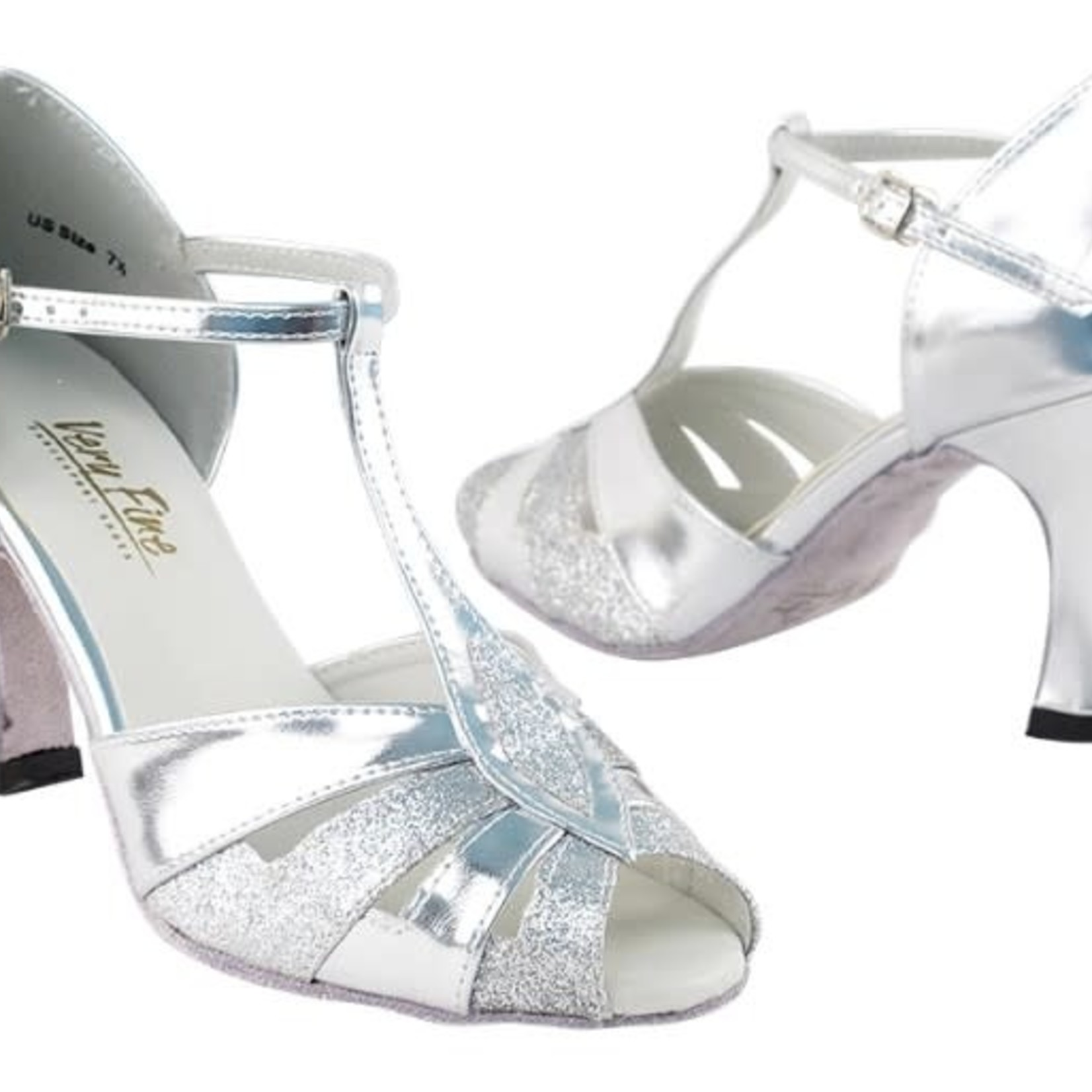 "Very Fine Very Fine 2702 2.5"" Silver and Stardust Ballroom Shoe"