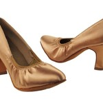 "Very Fine Very Fine S9107 2.5"" Tan Satin Elastic Ballroom Shoe"