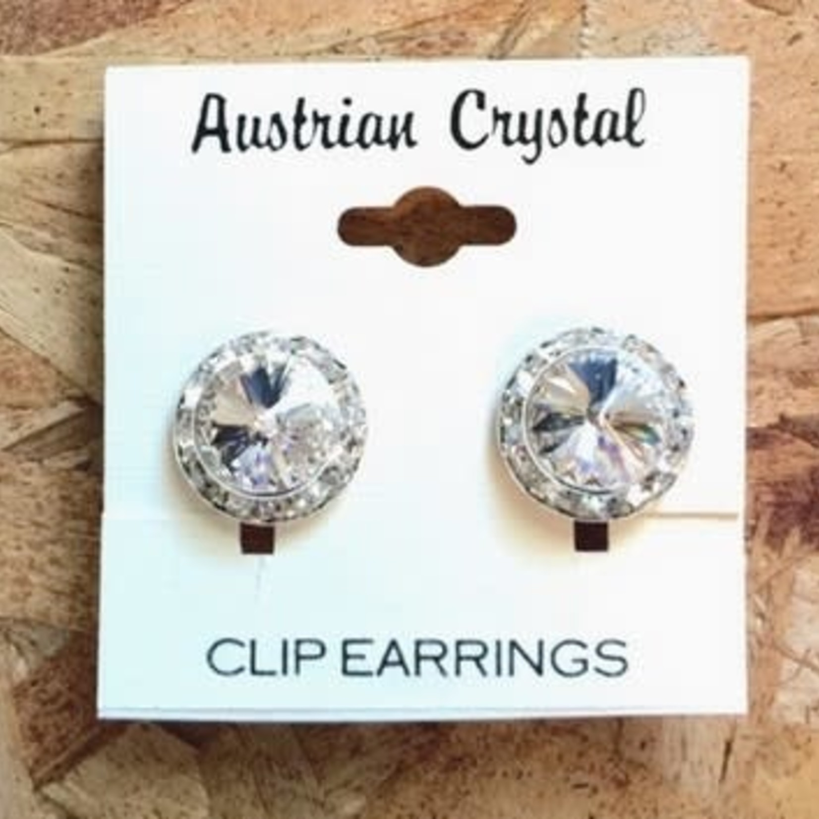 CJ Merchantile RA54 Australian Crystal Clear15mm Clip-On Earrings