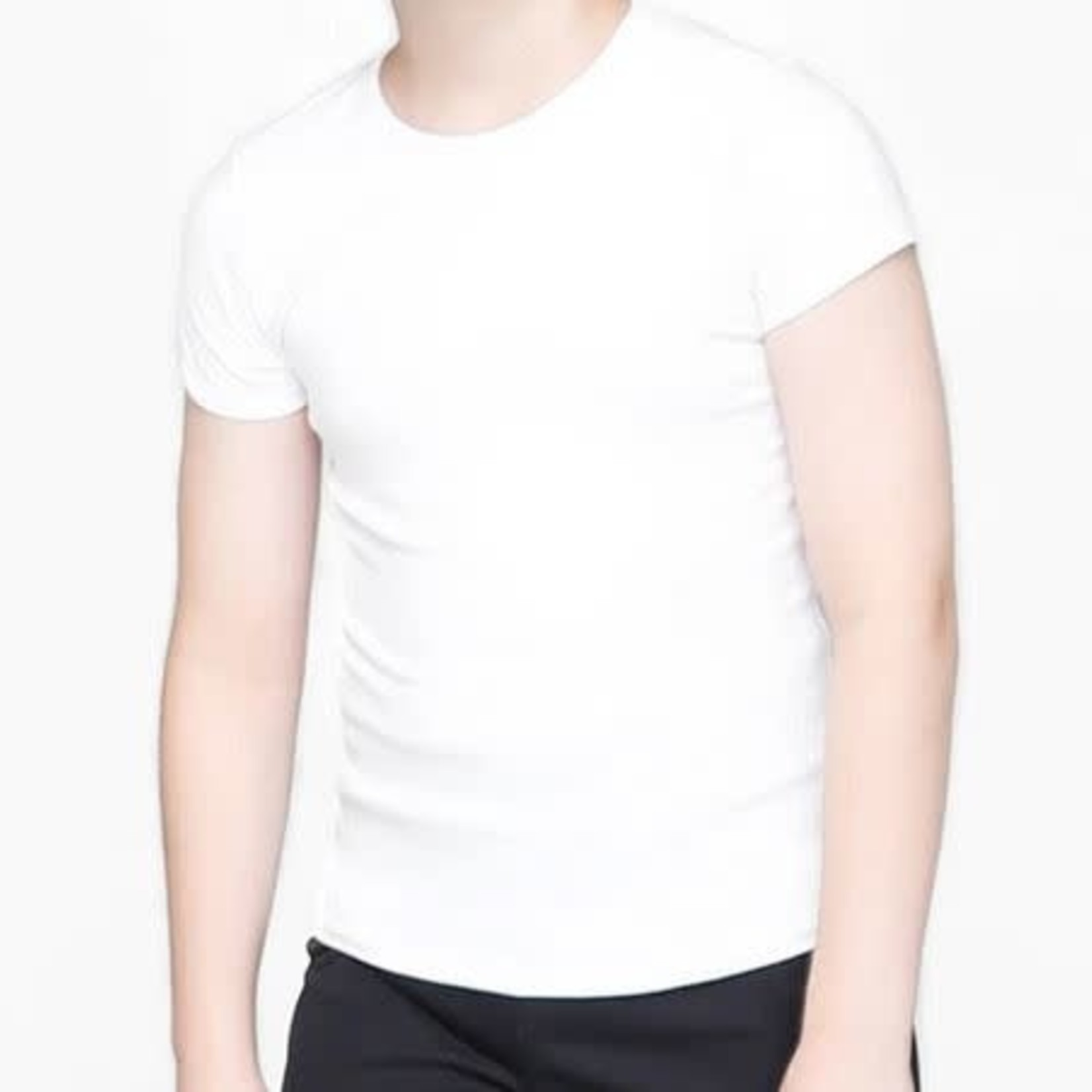 Body Wrappers Body Wrappers B190 Boys WHT Cotton Fitted Short Slv Shirt