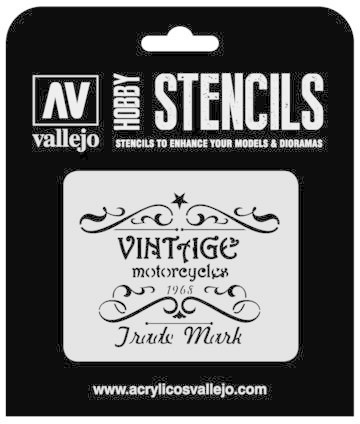 Paint Vallejo 1/35 Vintage Motorcycles Sign Stencil