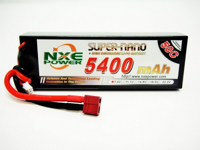 Battery LiPo NXE 7.4v 5400mah 50c H/case Lipo w/Dean