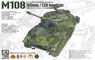 Plastic Kits AFV CLUB (i) 1/35 Scale -  105mm/L30 Howitze M108 U.S. Self-Propelled Howitze *Aus Decal*Plastic Model Kit