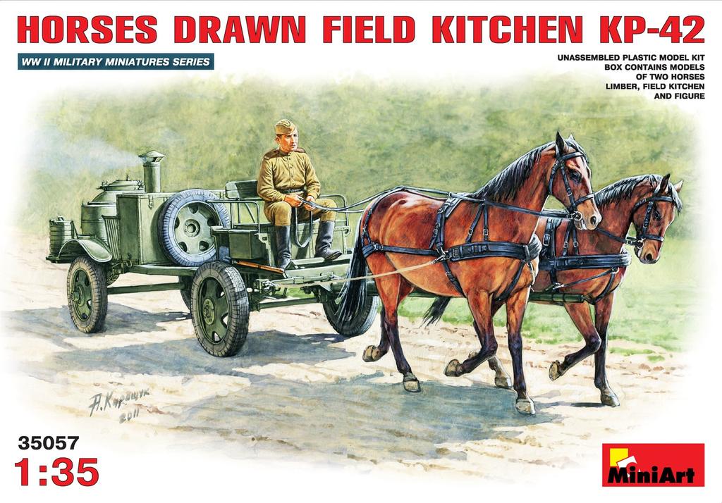 Plastic Kits Miniart 1/35 Horses Drawn Field Kitchen KP-42 Plastic Model Kit