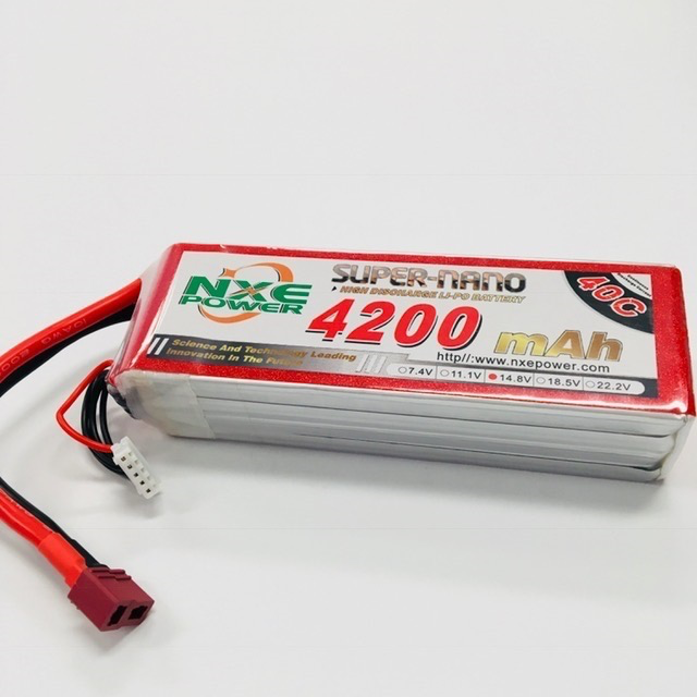Battery LiPo NXE 14.8v 4200mah 40c Soft case w/Deans