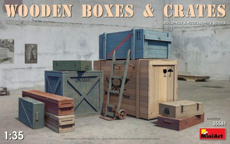 Plastic Kits Miniart 1/35 Wooden Boxes & Crates Plastic Model Kit