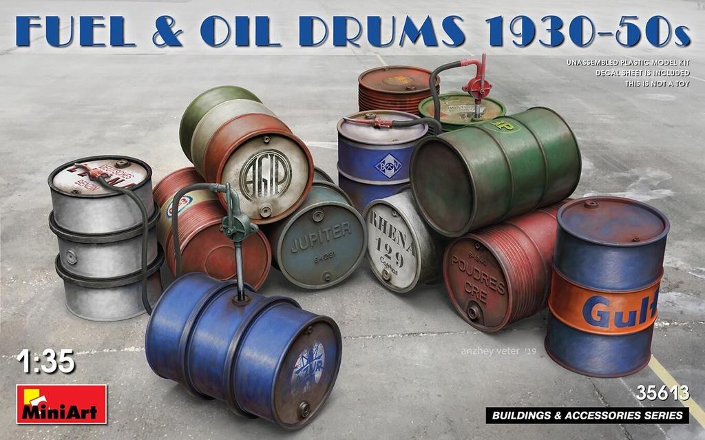 Parts Miniart 1/35 Fuel & Oil Drums 1930-50s Plastic Model Kit