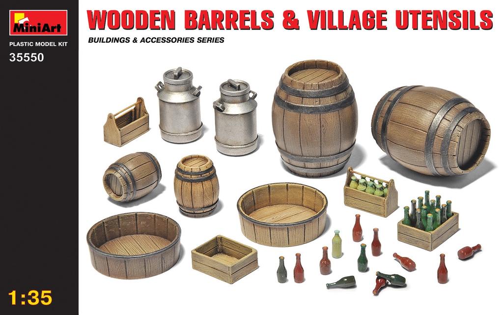 Parts Miniart 1/35 Wooden Barrels & Village Utensils Plastic Model Kit