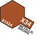 Paint Tamiya Color Mini Acrilic Paint X-34 Metallic Brown. (Gloss)