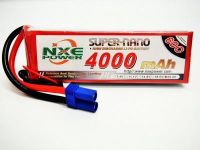 Battery LiPo NXE 4000mah 60c 22.2V S/case Lipo w/EC5